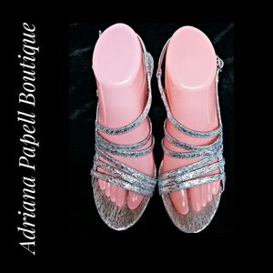 Adrianna Papell Boutique Silver Sandals Size 8.5M